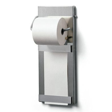 Made of brushed stainless steel approx. 1 mm thick. Will hold office paper rolls of up to 4. 5 cm in... - Stainless Steel Office Paper Roll Holder