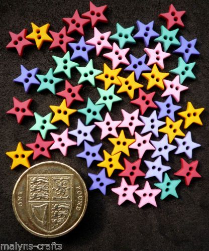 MICRO-MINI-STARS-FLIRT-9mm-Craft-Buttons-Small-Baby-Doll-Clothes-Sewing-Night
