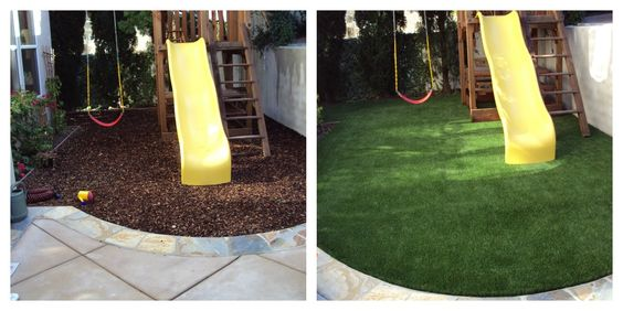 EasyTurf is the perfect option over mulch for a backyard play area! Now no dirt or mud with a softer landing pad for falls. www.easyturf.com l artificial turf l fake grass l playground l play area l outdoor