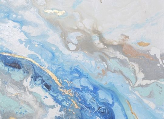 Abstract Painting Created With Marbling Hues In Shades Of Blue Gray White And Gold Found Solace Ii Abstract Wall Art By Christine Krainock From Great Dessin