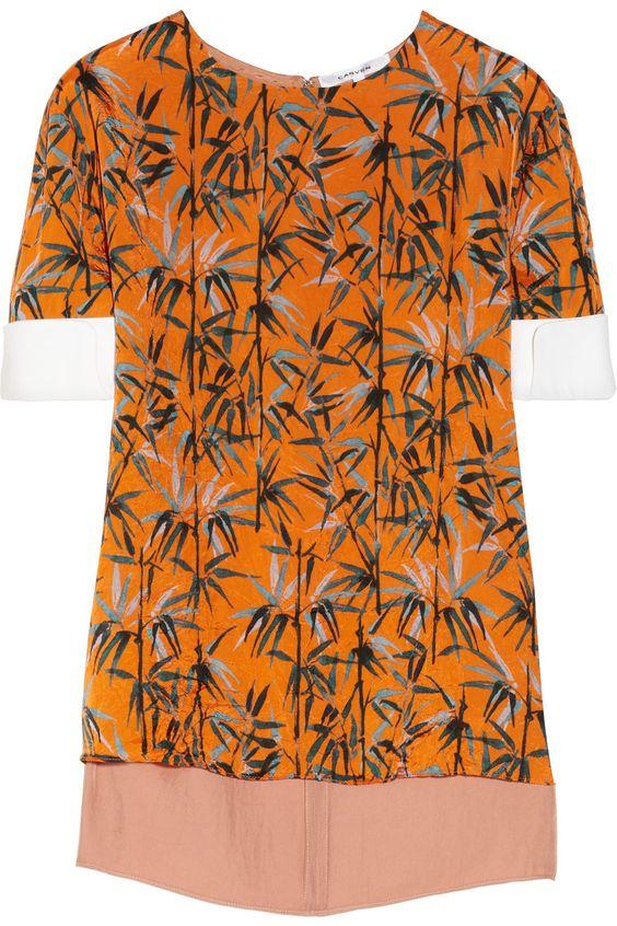 Carven|Cotton-trimmed printed crinkled-sateen blouse|NET-A-PORTER.COM