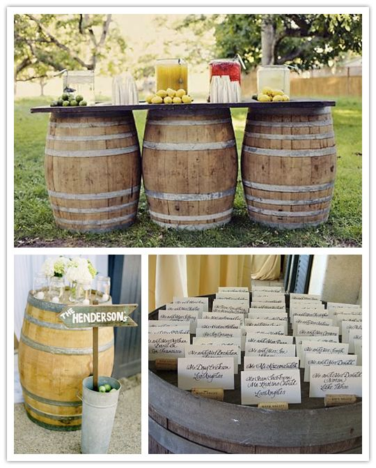 I like the barrel idea..: Barrel Ideas, Wedding Idea, Outdoor Table, Country Wedding, Barrel Table