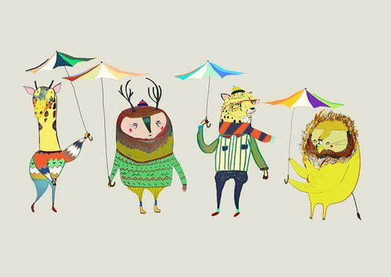 Rainy Day. Limited edition art print by Ashley by AshleyPercival, $40.00 illustration, art, decor, animals, kids,