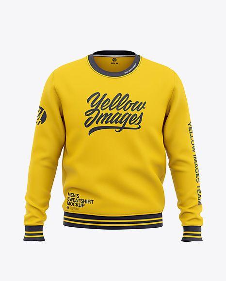 Download Men S Crew Neck Sweatshirt Front View Of Sweater In Apparel Mockups On Yellow Images Object Mockups Sweatshirts Mens Crew Neck Hoodies Men Pullover