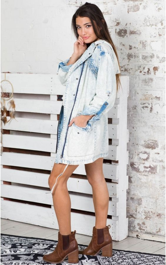 Street Style Trench Coat in Light Blue | SHOWPO Fashion Online Shopping
