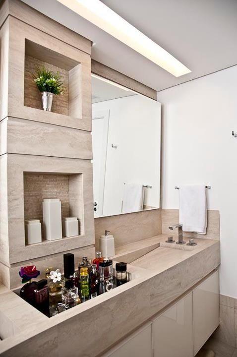 Nicho Bancada Banheiro : Bancada com nicho para perfumes assim eles n?o ficam