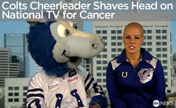 """Good Morning America"" interviewed the Colts cheerleader to get her personal reason behind shaving her head for cancer research. Click the Pin to watch the video!"