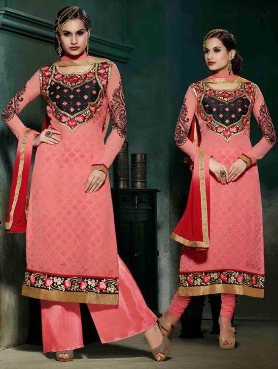 Peach Long Straight Embroidered Suit