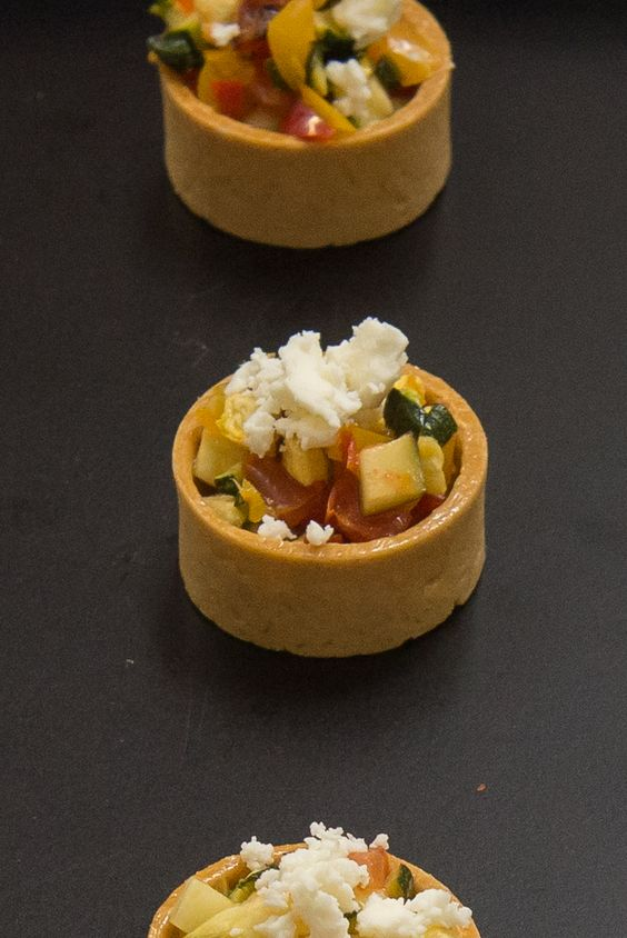 Ratatouile Tartlet with Red Pepper Coulis & Feta
