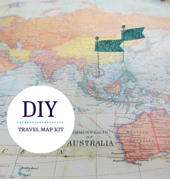 Pin Your World Travels Map Hanging Cork Kit Paper Anniversary – World Travel Maps With Pins