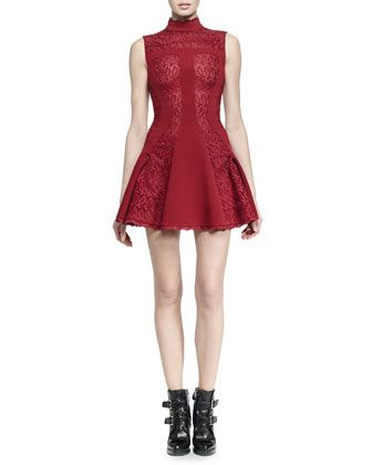 Neiman marcus red lace dress