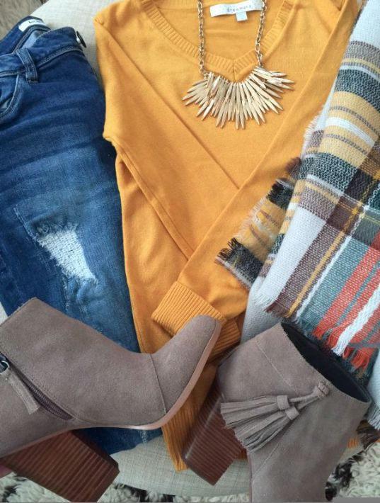 Fall fashion - distressed jeans, solid sweater, statement necklace, plaid scarf…: