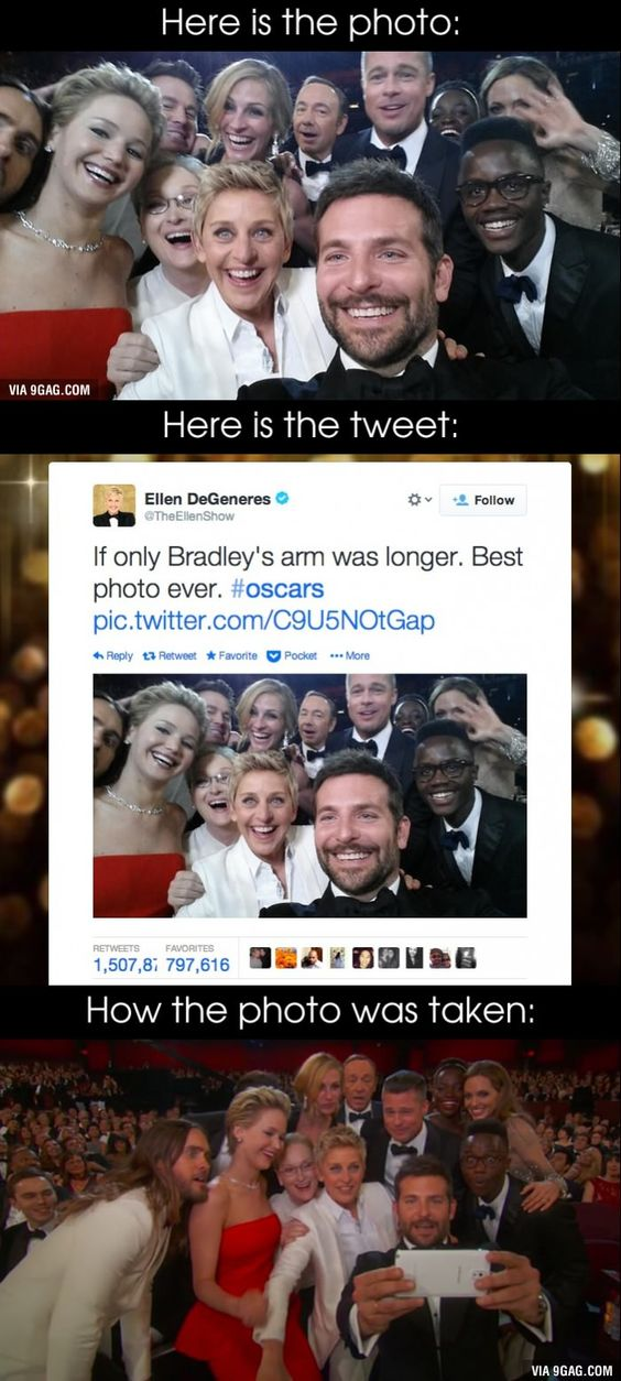 """Ellen DeGeneres' Oscars selfie is the most retweeted tweet of all time"" this is probably my favorite picture ever"