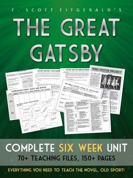 the great gatsby six week unit plan handouts worksheets. Black Bedroom Furniture Sets. Home Design Ideas