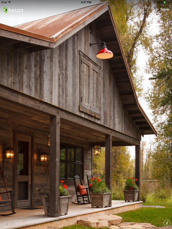 Love this look for the home pinterest weathered wood for Rustic pole barn