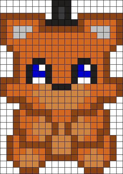 Chibi Freddy FNAF Perler Bead Pattern / Bead Sprite
