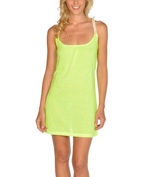 Love this Neon Yellow Gathered Rope-Back Dress by Lagaci on #zulily! #zulilyfinds