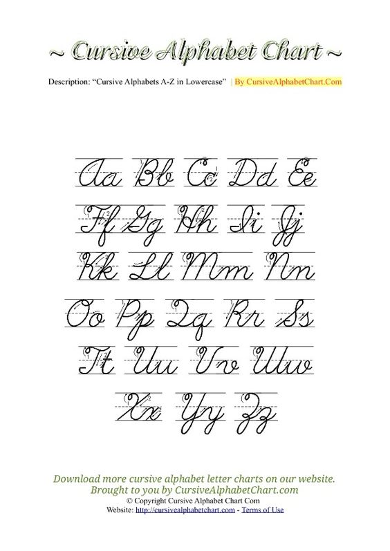 Worksheets Cursive Letters Pdf uppercase lowercase cursive alphabet charts with arrows in pdf more