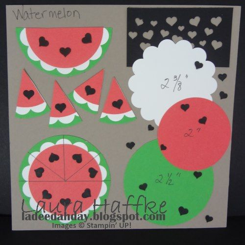 It's a La Dee Dah Day!: WATERMELON- OH SO SWEET! Template #punchitup Stampin' Up! Confetti Heart Border Punch  Creative Challenge