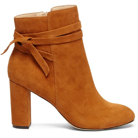 Sole Society Flynn Wrap Around Bootie (205 BRL) ❤ liked on Polyvore featuring shoes, boots, ankle booties, ankle boots, chestnut, suede ankle bootie, ankle strap booties, bootie boots, chestnut boots and ankle bootie boots