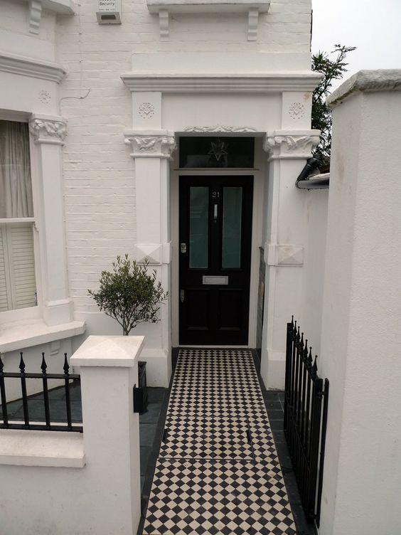 Ornamental stone front garden design Balham Clapham Battersea London