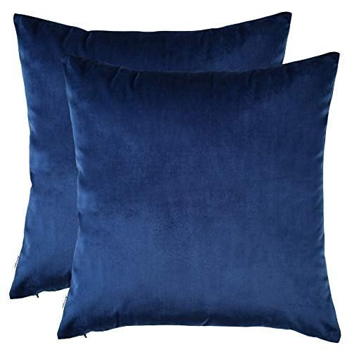 Artcest Set Of 2 Cozy Solid Velvet Throw Pillow Case Decorative Couch Cushion Cover Soft Sofa Euro Sham With Zipper Hidden 12 X12 Royal Blue Boughtagai In 2020 Couch Cushion Covers