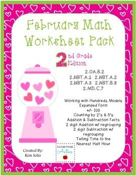 February Math Worksheet Pack {2nd Grade} | Hojas De Trabajo De ...