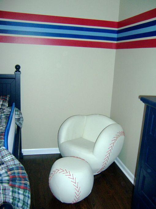 Image detail for baseball bedroom striped baseball for Boys baseball bedroom ideas