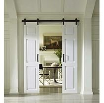 Four Seasons Outdoor Products Split Barn Door Classic 6 Panel In White Select Sizes Glass Barn Doors Double Barn Doors White Paneling