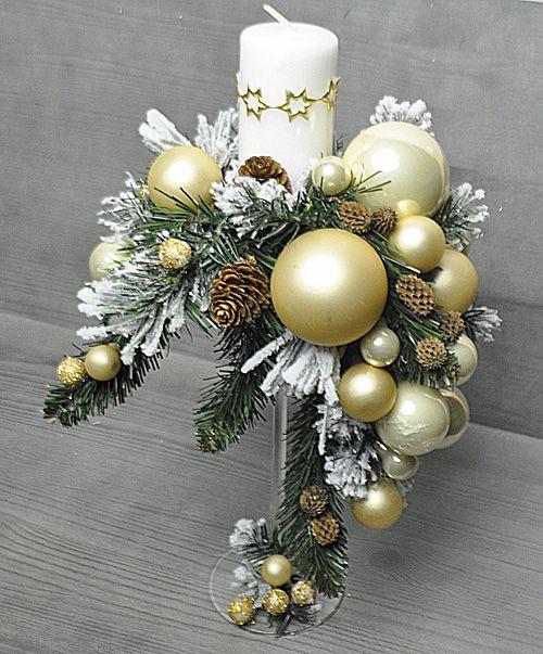 Swiecznik Swiateczny Bozonarodzeniowy Szklo Stroik 7082570859 Allegro Pl Christmas Candle Decorations Christmas Floral Arrangements Christmas Arrangements