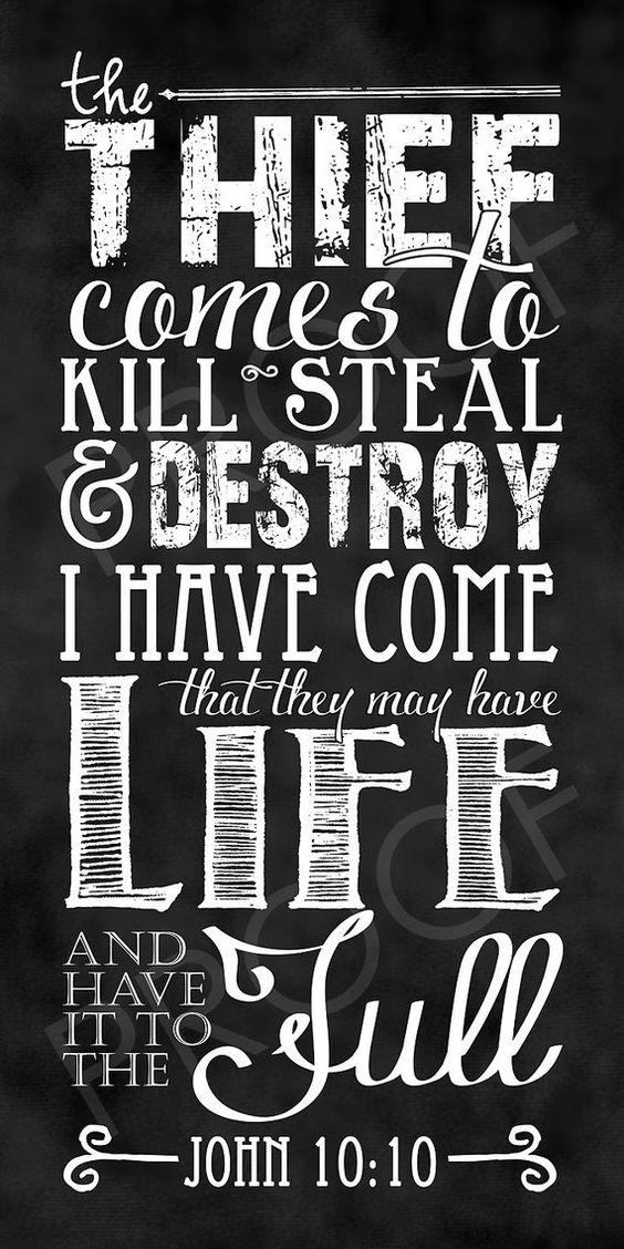 Scripture Art - John 10:10 chalkboard style (custom narrow size)