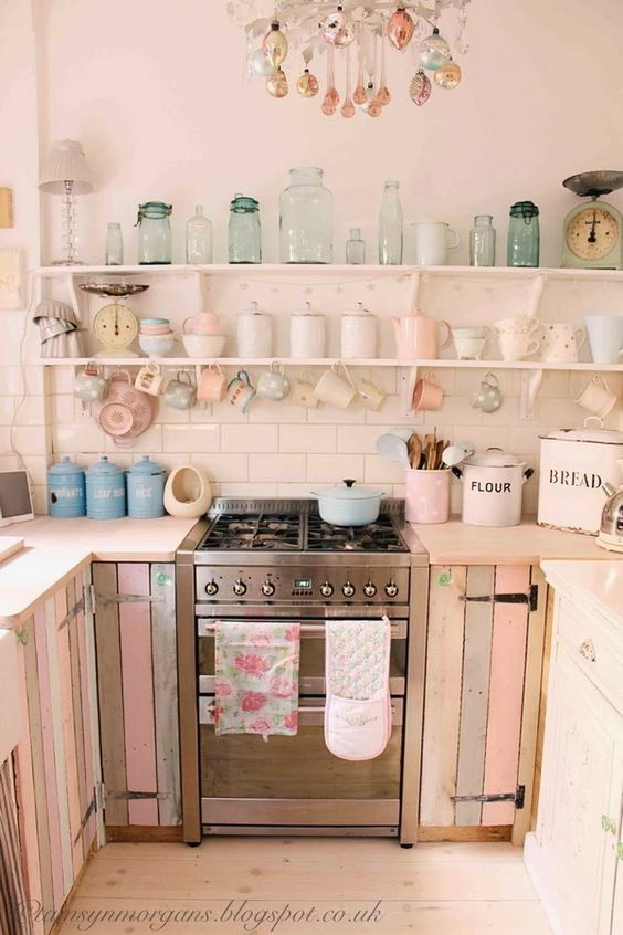 ❤(¯`★´¯)Shabby Chic 2(¯`★´¯)°❤ ...Pastel Pallet Cabinet Doors and Open Shelving.