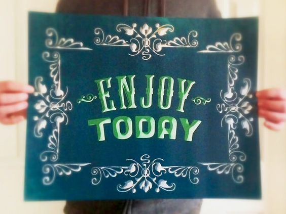 ENJOY TODAY Typographic Poster Great Art by Earmark, $ 30.00