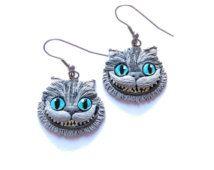 Polymer Clay Earrings, Fimo Jewelry, Cheshire Cat Earrings, Alice in Wonderland Earrings, Animal Cat Jewelry, Movie TV Character Earrings
