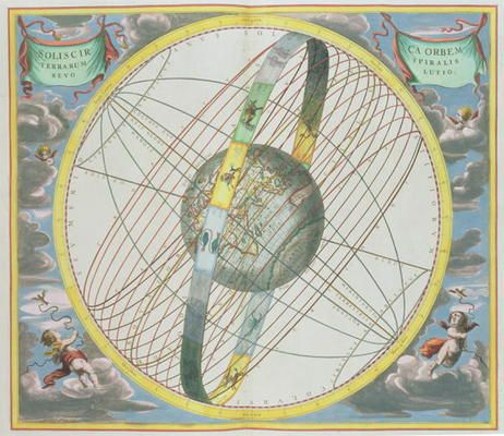Andreas Cellarius-Map Charting the Orbit of the Moon around the Earth, from 'A Celestial Atlas, or The Harmony of the