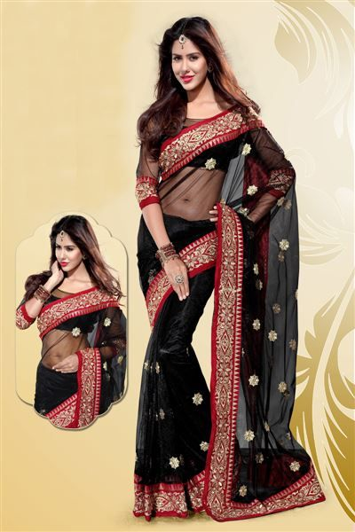 Stylish Black Net Party Wear Saree Item Code: SRTDE04271  Shop Now - http://www.mirchifashion.com/Buy/Saree/Stylish-Black-Net-Party-Wear-Saree-21