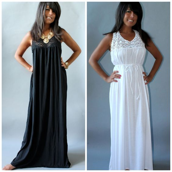 Details about CROCHET LACE MAXI DRESS BLACK OR WHITE SUMMER BEACH ...