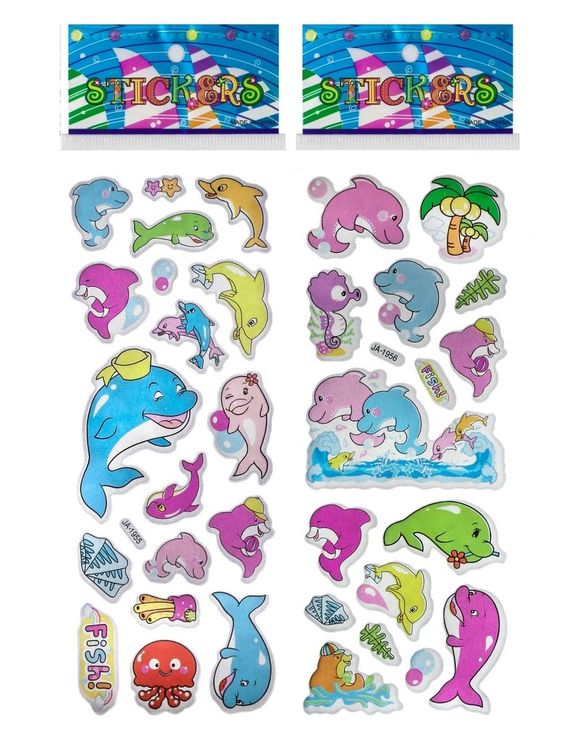- 3 Individually packaged sticker sheets. Ready for gift giving. - Each theme may have several styles. 3 sheets selected randomly. - Dolphin Puffy Stickers are perfect for scrapbooking, themed parties