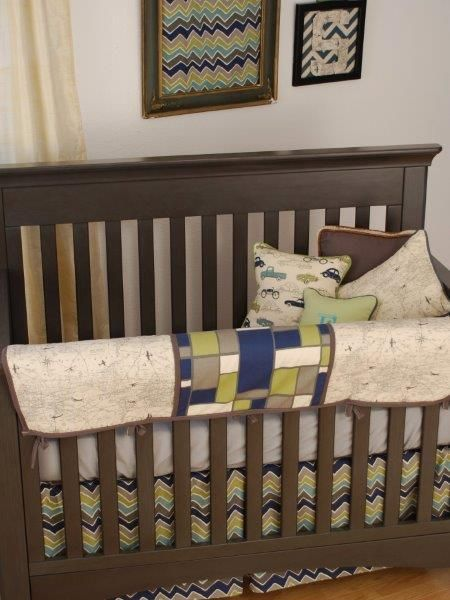 world map print with navy and grey crib bedding and