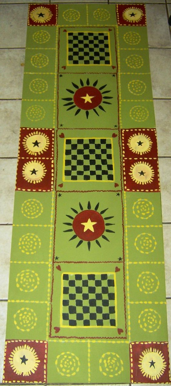 Country Folk Art Floor cloth  - Hand painted:
