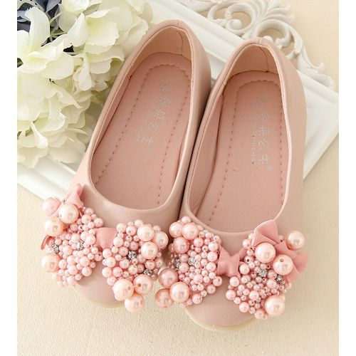 Pink Beaded Flower Pageant Girl Girls Party Dress Ballet Flats Shoes