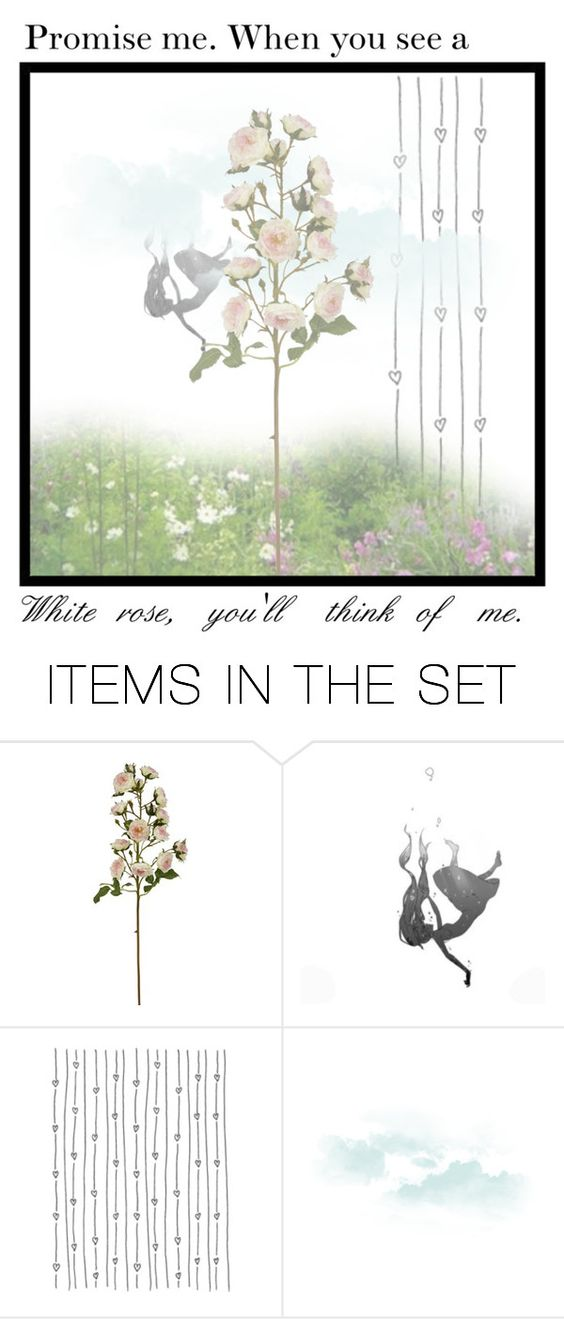 """""""Promise me, when you see a white rose, you'll think of me."""" by starry-jasmine-tsundere ❤ liked on Polyvore featuring art"""