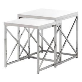 Monarch Specialties 2 Piece White Accent Table Set I 3025