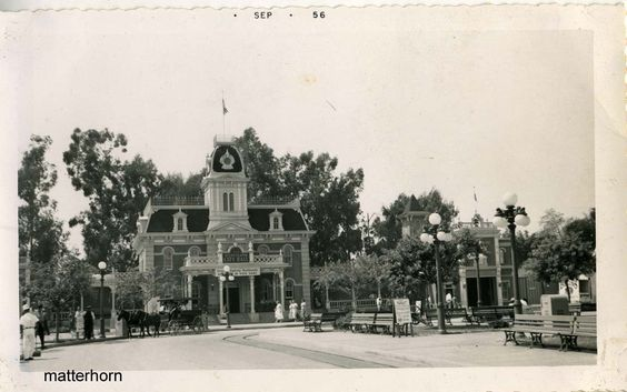 Disneyland, Town Square, City Hall and Fire Department, 1956