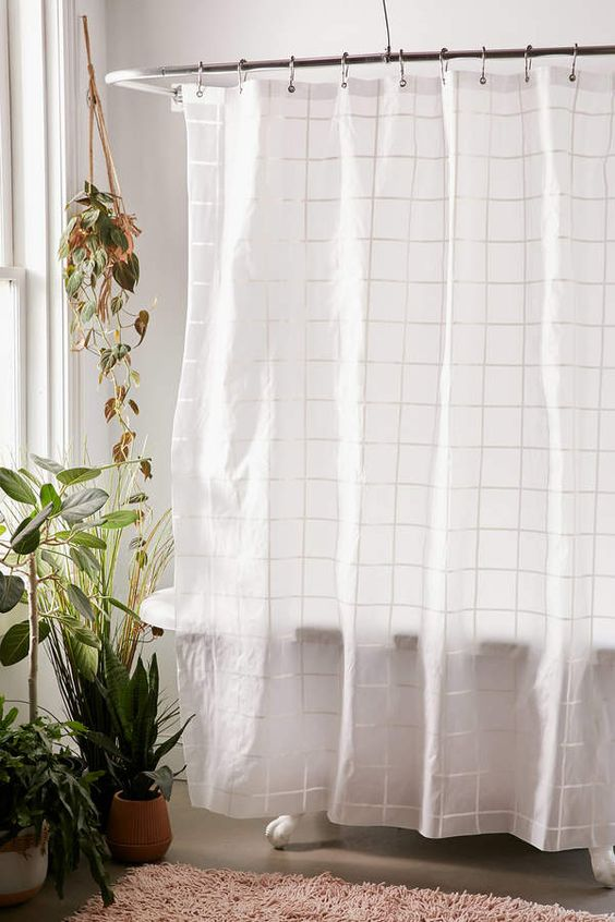 Grid Peva Shower Curtain In 2020 Urban Outfitters Curtains