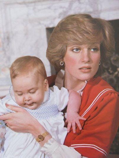December 22, 1982: Princess Diana with Prince William at Kensington Palace.