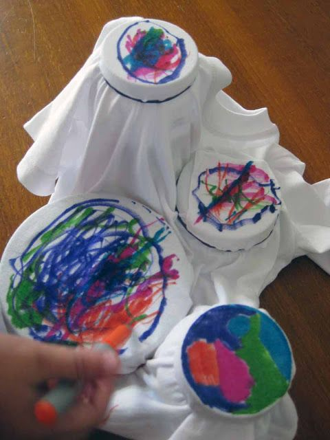 Tye dyed shirts, with markers and then sprayed with rubbing alcohol to watch the colors bleed
