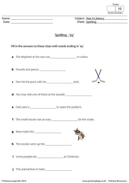 Worksheets Year 4 Spellings Worksheets spelling worksheets primary resources and the missing on pinterest this year 4 literacy worksheet focuses words ending in ey children must