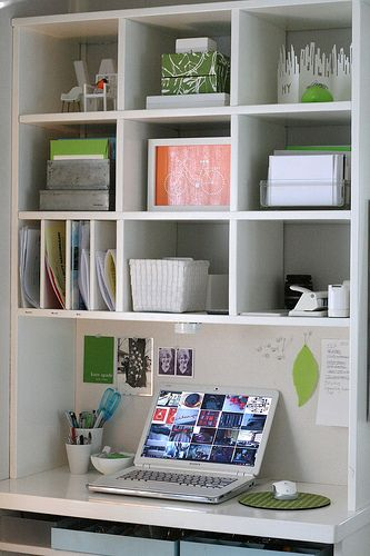 Office storage ideas, keep things in one color, white, and silver for clean look