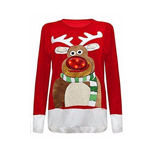 New Unisex Ladies Women Knitted Christmas Xmas Pom Pom Tree Jumper Top Sweater